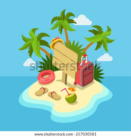Tropic island beach wooden signpost flat 3d web isometric infographic travel vacation concept vector template mockup. Tropical sand seashore palm trees suitcase cocktail. Creative tourism collection.