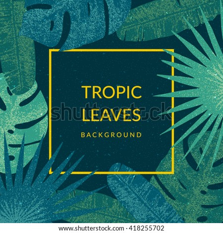 Tropic leaves background with frame for your text. Eps10 vector template.