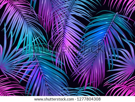 Tropic leaves seamless pattern in neon colors. Colored vector illustration. Isolated on black background.