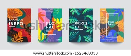 Tropic minimal cover templates. Invitation cards. Eps10 vector.