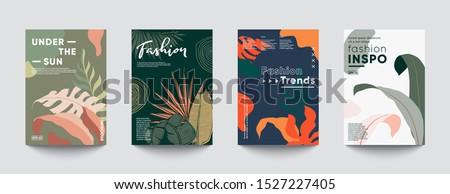 Tropic minimal cover templates. Wedding Invitation cards. Trendy fashion design. Eps10 vector.