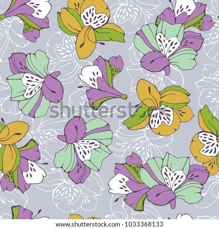 Tropic seamless pattern with lily.