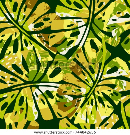Tropic seamless pattern with monstera leafs.