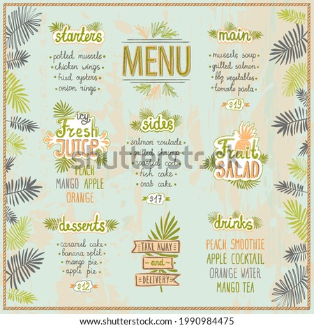 Tropic style menu template with palm leaves and hand drawn lettering, summer menu mockup