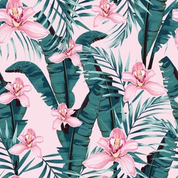 Tropic summer painting seamless pattern with palm banana leaf and plants. Floral jungle pink orchid flowers. Trendy bunch exotic flower wallpaper on pink background.