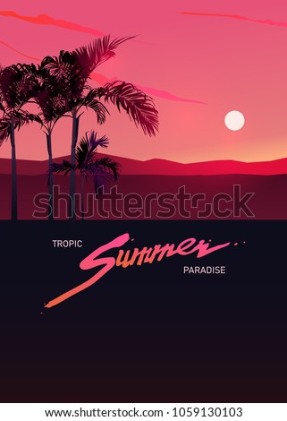 Tropic summer paradise graphic template with summer logo and space for text, flat simple vector 80's Design