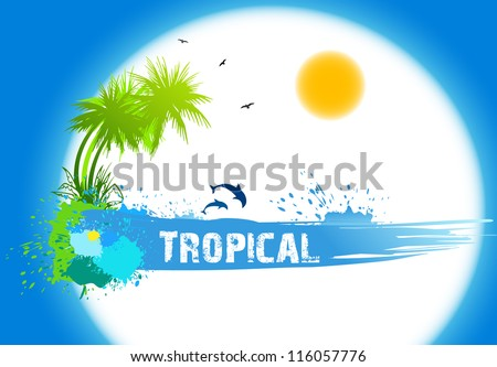 Tropical abstract background. Vector illustration