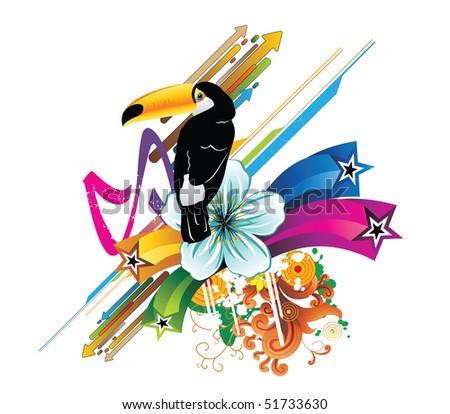 tropical abstract bird vector
