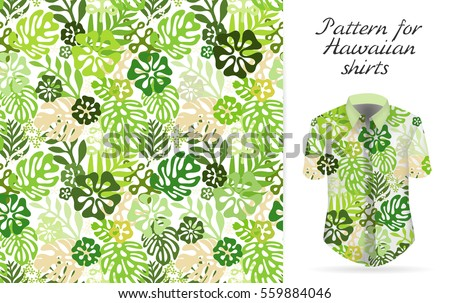 Tropical aloha pattern. Vector Hawaiian exotic flowers pattern on shirt mockup. Vector plants and flowers seamless background. Green color tropical florals.
