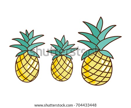 Tropical ananas pineapple fruit icon logo on white background. Vector illustration for textile print, wallpaper, fashion design