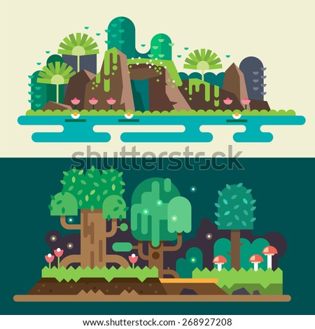 Tropical and  forest landscapes: stones, lake, flowers, trees, grass, bushes, mushrooms. Magical nature. Backgrounds for game. Vector flat illustrations