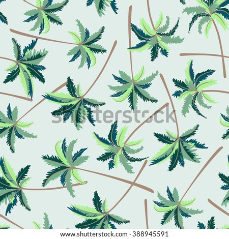 Tropical Australian foxtail palm seamless pattern .