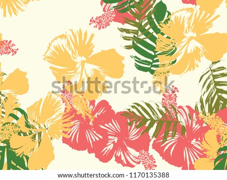 stock-vector-tropical-background-green-pink-red-yellow-monstera-hibiscus-palm-vector-elements-hawaiian