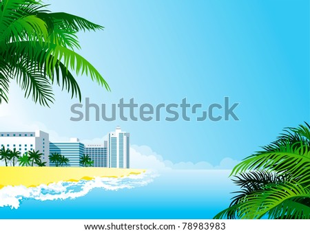 Tropical background. Vector background with tropical palms and  hotel buildings.