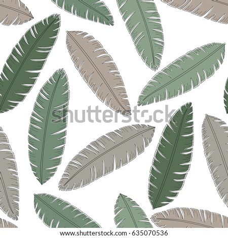 Tropical background with palm leaves. Seamless floral pattern. Without background
