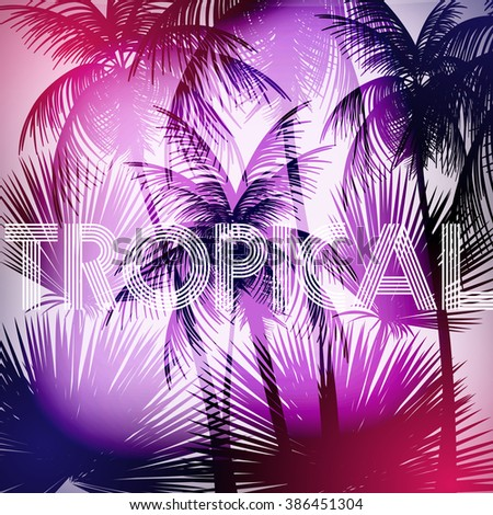 tropical background with palm
