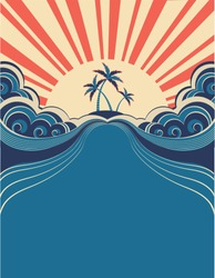 Tropical background with palms and sunshine.Vector illustration