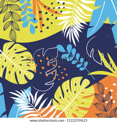 Tropical background with plants and abstraction. Hand draw texture. Vector template. Summer background with exotic leaves. Exotic wallpaper, Hawaiian style.