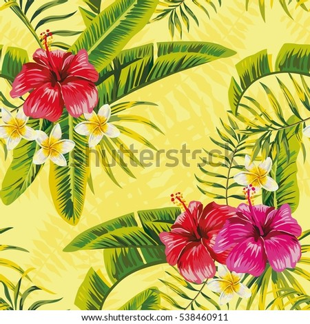 Tropical banana palm leaves and flowers hibiscus plumeria seamless pattern on yellow background