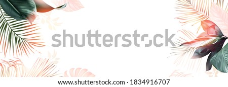 Tropical banner arranged from exotic and golden glitter leaves. Paradise plants, greenery and palm card. Stylish fashion frame. Sunset light. Wedding design. Leaves are not cut. Isolated and editable