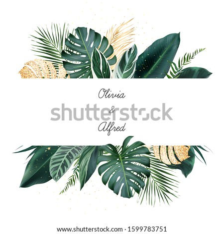 Tropical banner arranged from exotic emerald and golden glitter leaves. Paradise plants, greenery and palm card. Stylish fashion frame. Wedding design. All leaves are not cut. Isolated and editable
