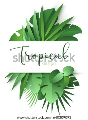 tropical banner with green palm