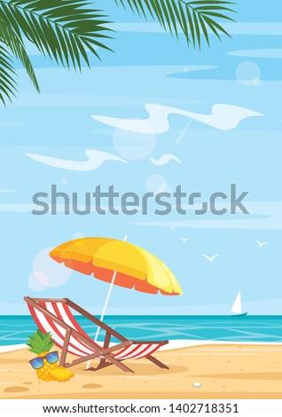 tropical beach and sea flat