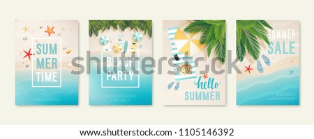 Tropical beach cards with sand, sea and palm trees. Summer flyers with starfish, flip flops and beach umbrellas. Summer time and summer sale posters. Vector illustration.