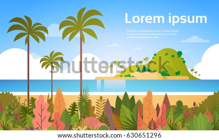 tropical beach island palm tree