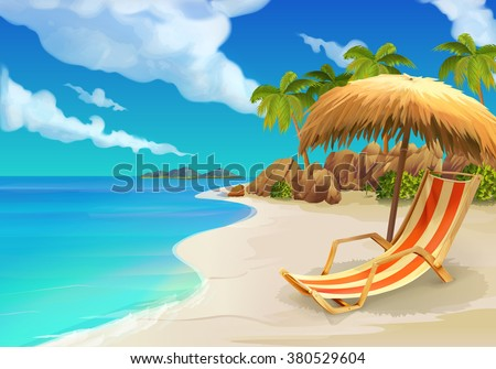 stock vector tropical beach lounge chair vector background 380529604 - Каталог — Фотообои «Для детской»