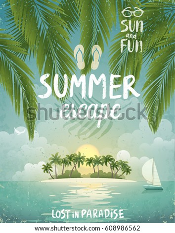 Tropical beach poster, Summer Escape. Vector illustration.