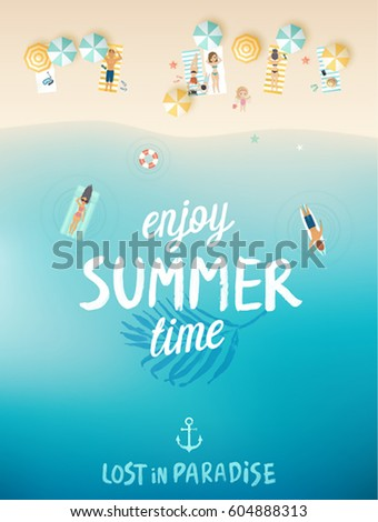 Tropical beach poster, top view. Vector illustration.