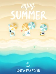Tropical beach poster. Vector illustration.