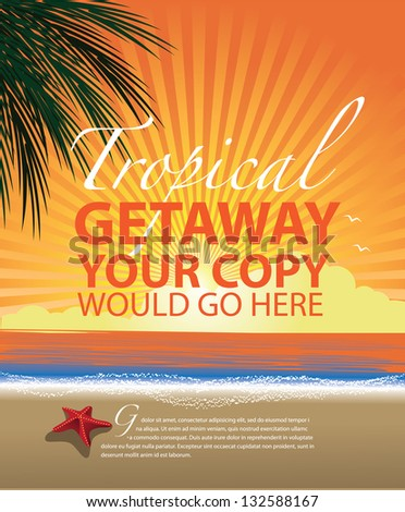 tropical beach promotional