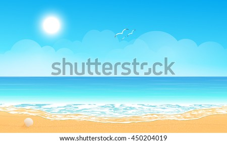 Tropical beach. Sandy beach under the bright sun. Vector background.