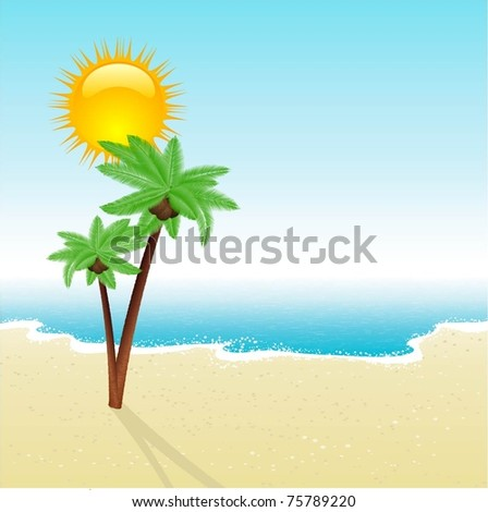 tropical beach scene with