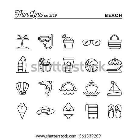 Tropical beach, summer, vacation, cruising and more, thin line icons set, vector illustration