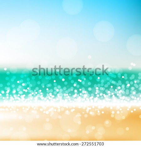 Tropical beach vector abstract background, bright blurred sea and sand scene