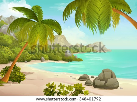 Tropical beach vector background