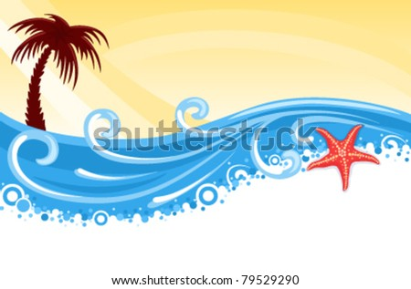 tropical beach with palm tree