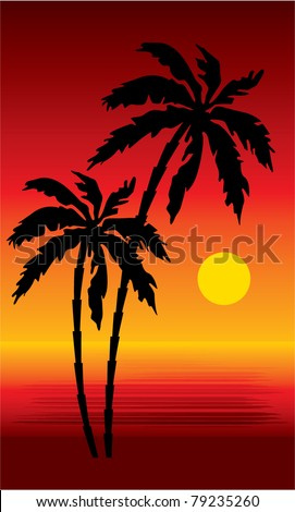 Tropical beach with palm trees.Sunset. vector, gradient, color full, no mesh