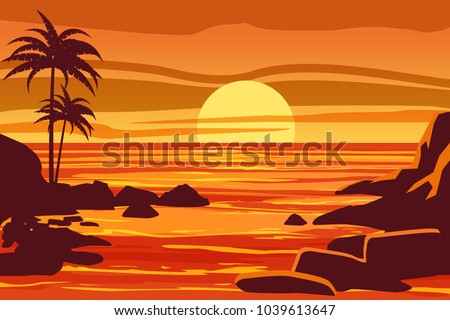 tropical beautiful sunset