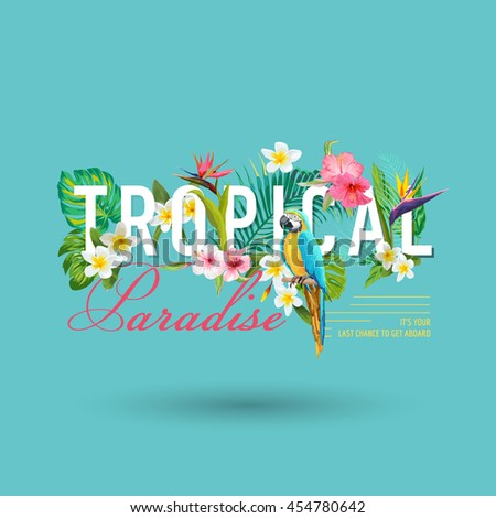 Tropical Bird and Flowers Graphic Design - for t-shirt, fashion, prints - in vector #454780642