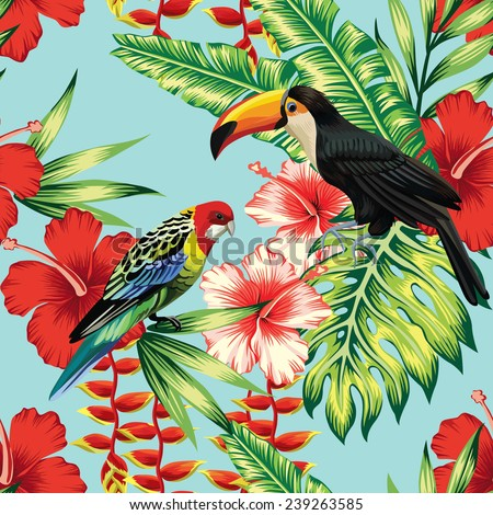 tropical birds and flowers