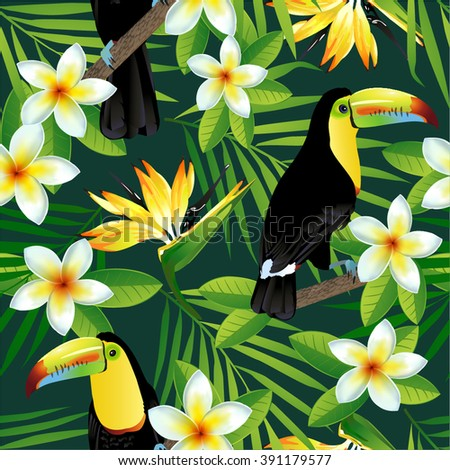 tropical birds and palm leaves