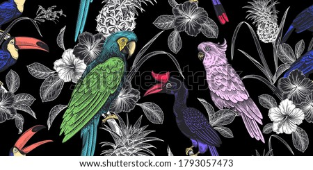 Tropical birds, flowers, fruits, leaves on black background. Floral seamless pattern. Pineapple, parrots, toucans. Exotic nature. Vector illustration. Vintage. Luxury summer design for Hawaiian shirts Foto stock ©