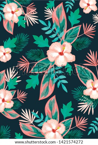tropical botanical flower pattern with hibiscus and palmleaves, monstera on a dark blue background