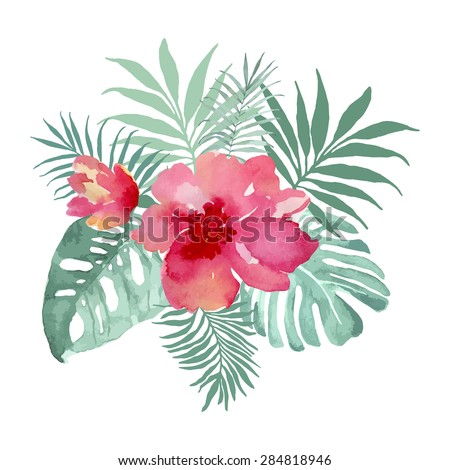Tropical bouquet with flowers and palm leaves. Watercolor illustration, vector.