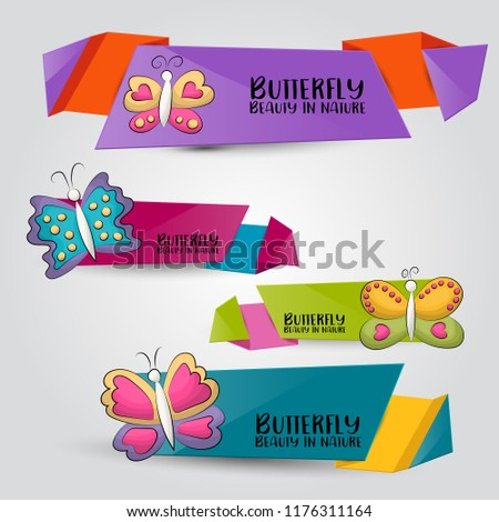 Tropical butterflies horizontal banner set. Cute header for invitation, advertisement, web page. Hand drawn  doodle cartoon style summer or spring design concept. Vector illustration. #1176311164