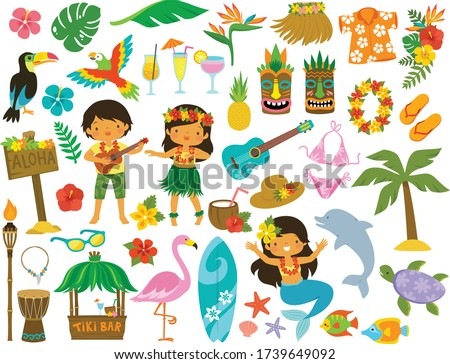 Tropical clipart set. Hawaii, beach and summer related items.